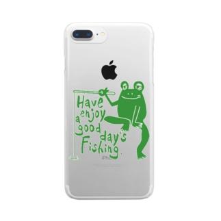 カエルが釣りをするでケロ Clear smartphone cases