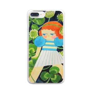 シロツメクサとハンメちゃん Clear smartphone cases