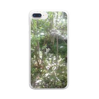 ハチワレ 森猫    Clear smartphone cases