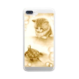 仔猫とカメ Clear smartphone cases