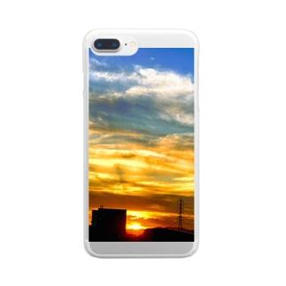 陽の沈み Clear smartphone cases