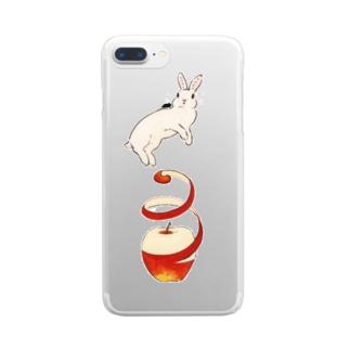 りんご大好きうさぎ Clear smartphone cases