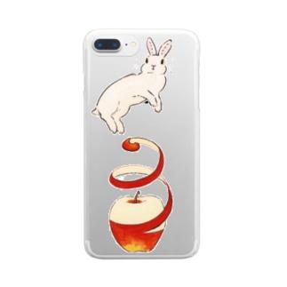 りんご大好きうさぎ クリアスマートフォンケース