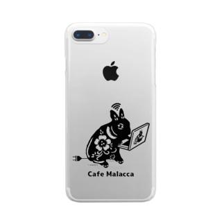 黒い小梅うさぎ PC作業 Clear smartphone cases