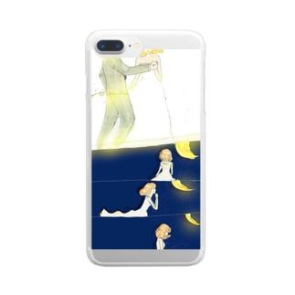 月と女の子シリーズ* Clear smartphone cases
