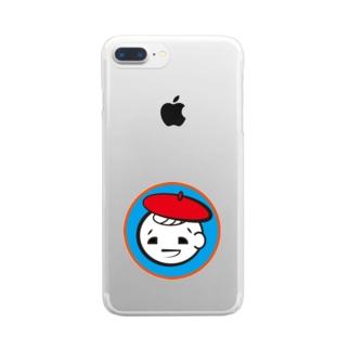 アシタモのベレー帽ぼうや Clear smartphone cases