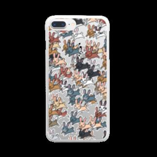 ポメ村ポメラニアンのうさぎ群 Clear smartphone cases