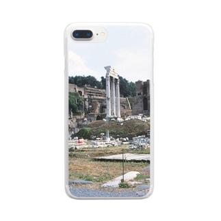 イタリア:フォロ・ロマーノのカストルとポルックス神殿が見える風景写真 Italy: view of Foro Romano (Tempio dei Dioscuri) Clear smartphone cases
