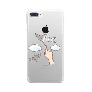 想像力が溢れてたまらない人が空に描くサメ Clear smartphone cases