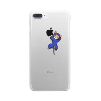 アップルもぐもぐ ねこ忍者さん Clear smartphone cases
