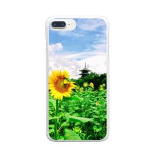 ひまわり畑と五重塔1 Clear smartphone cases