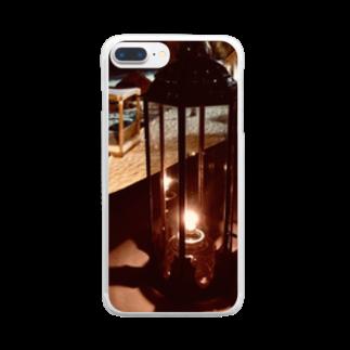 Una Villa Shopの夜のビーチとランタン1 Clear smartphone cases