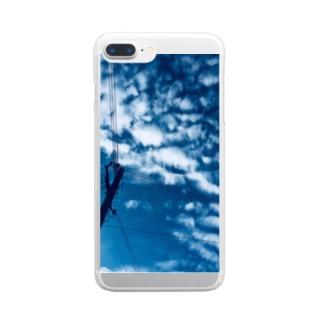 都会の青い空の電柱 Clear smartphone cases
