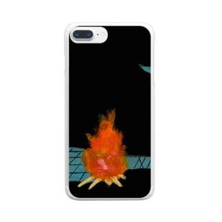 暗闇でキャンプ Clear smartphone cases