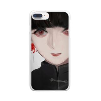 彼岸花のピアス Clear smartphone cases