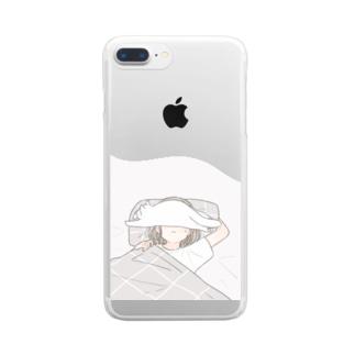 猫とおやすみ Clear smartphone cases