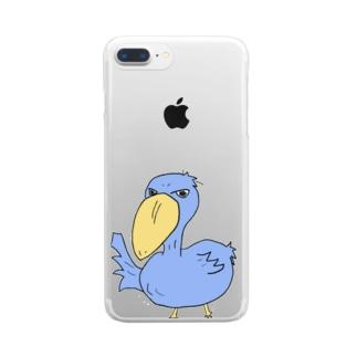 ハシビロコウさんm Clear smartphone cases