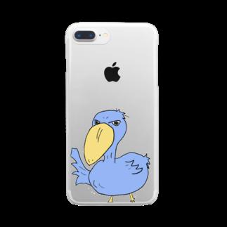しらたま雑貨店のハシビロコウさんm Clear smartphone cases