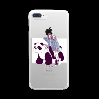 あい子のパンダカー Clear smartphone cases