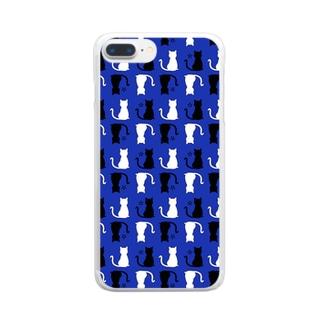ねこ(ブルー) Clear smartphone cases