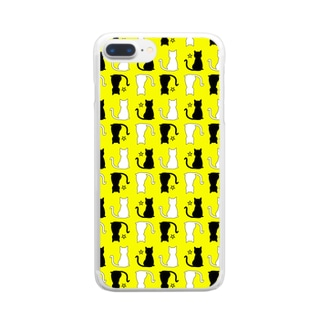 ねこ(イエロー) Clear smartphone cases
