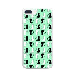 ねこ(グリーン) Clear smartphone cases