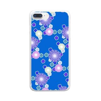 和柄(青) Clear smartphone cases