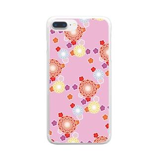 和柄(ピンク) Clear smartphone cases