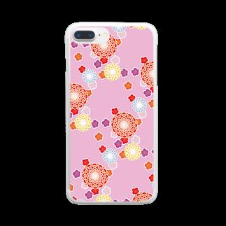 陽向の和柄(ピンク) Clear smartphone cases