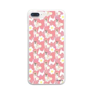 柴犬(ピンク) Clear smartphone cases