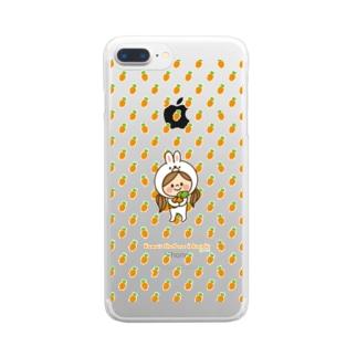 かわいい主婦の1日うさぎ(キャロット)  Clear smartphone cases