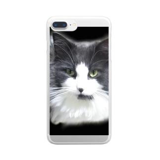 堕天使な長毛猫 Clear smartphone cases