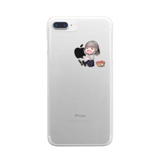 りんごを食べるすずめ Clear smartphone cases