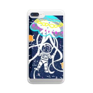 巨大クラゲのパラシュート Clear smartphone cases