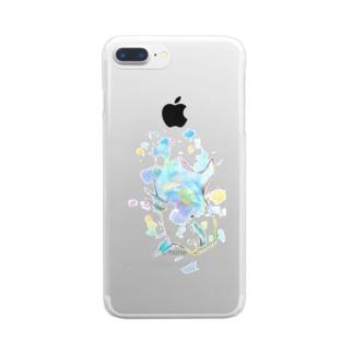 いるかのクリアスマホケース BLUE☺︎ Clear smartphone cases