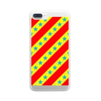 カラフル☆スター☆ストライプ Clear smartphone cases