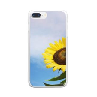 向日葵と空 Clear smartphone cases