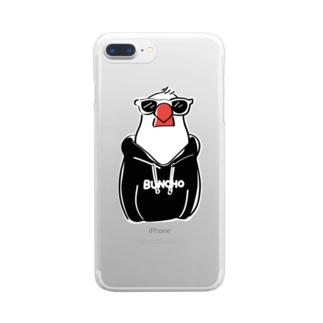 フーディ文鳥BLACK Clear smartphone cases
