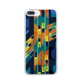 真夜中の高速道路 Clear smartphone cases