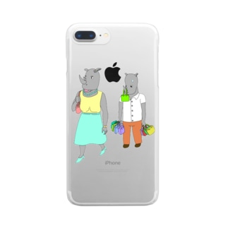 荷物を持たされるサイ Clear smartphone cases