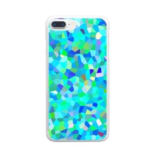青の結晶モザイク Clear smartphone cases