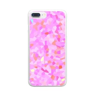 桃の結晶モザイク Clear smartphone cases