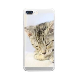 おひるね子猫(マンチカン) Clear smartphone cases