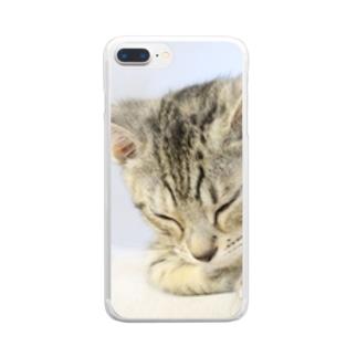 おひるね子猫(マンチカン) クリアスマートフォンケース