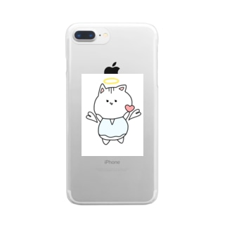 天使ぬこさん Clear smartphone cases