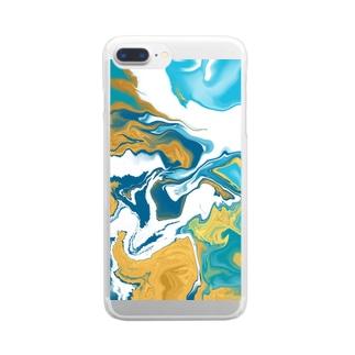 流体ペイント【ゴールド ターコイズブルー】 Clear smartphone cases