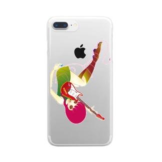ギターを持つ小悪魔 Clear smartphone cases