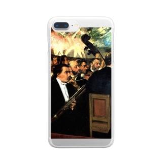 名画スマホケース・オンラインストア【クラウド】のドガ「オペラ座のオーケストラ」 Clear smartphone cases