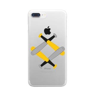 無い家紋-互い金属バット菱-その2 Clear smartphone cases