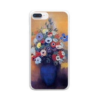 ルドン「青い花瓶のアネモネとリラ」 Clear smartphone cases